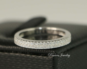 Half Eternity Band - Sterling Silver Wedding Band - Pave Band - Stacking Ring - Cubic Zirconia Ring