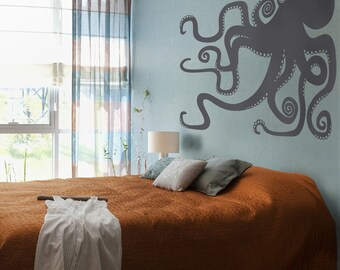 octopus vinyl wall decal large, sticker art, tentacles, octopus wall art, FREE SHIPPING
