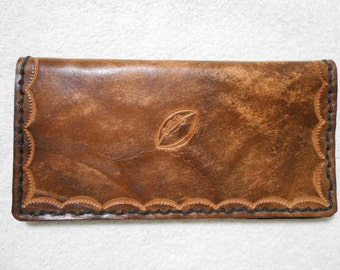 Genuine Leather, Brown Checkbook Cover With Football Stamp.  Personalized Checkbook Cover, Football Checkbook Cover, Sports Checkbook Cover