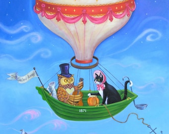 "Signed Limited Edition Giclee Print ""Bon Voyage"" lovers of The Owl and the Pussycat! By Laura Robertson"