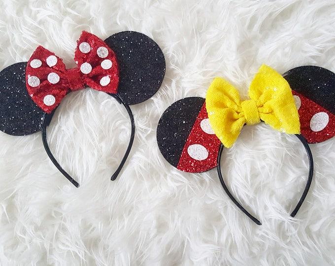 Minnie and Mickey Mouse Ears Headband   Mickey   Minnie Mouse Ears Headband Minnie Ears   Mouse Ears  