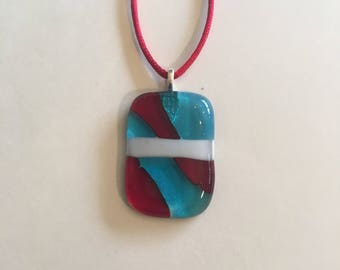 Blue, white and red fused glass necklace