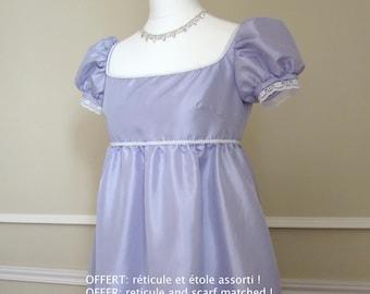 French late 18th century XXS to XXL purple taffeta empire dress