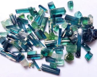 90 Carats Blue & Bicolor Tourmaline Crystals from Afghanistan