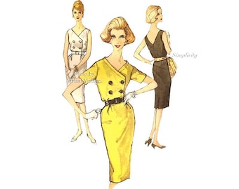 1960s Sheath Dress Pattern, Simplicity 3432, Short Sleeve or Sleeveless Double Breasted Dress, Bust 36, Uncut