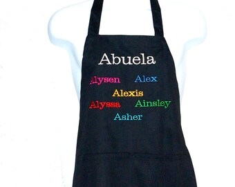 Abuela Apron, Personalize Six Kids Names, For Grandparent, Gramme, Grams, Nana, Mimi Ma, Mammy,  No Shipping Fee, ShipsTODAY, AGFT 721