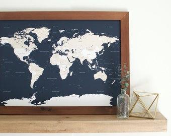 Push pin map travel map husband gift custom world map gift small world map push pin map framed world map travel map custom gumiabroncs Image collections