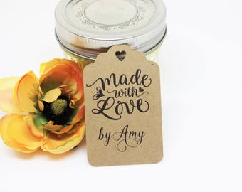 Made with love tags, Homemade gift tags, Kraft paper tags, Personalized tags, Jam canning tags, Party favor tags, Rustic paper tags, Labels