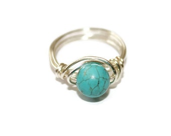 Silver Plated Wirewrapped Turquoise Howlite Ring