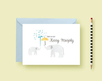 Watercolor Elephant Stationery, Elephant Personalized Notes, Custom Note Cards, Birthday Gift, Notes for Boys or Girls, Printable Stationery