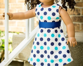 """Polka dot party dress for 18"""" doll"""
