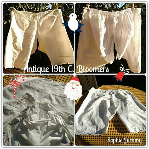Victorian Opened Panties White Cotton Bloomers Red Monogram Hand Embroidered Bottom Lingerie Large XL #sophieladydeparis
