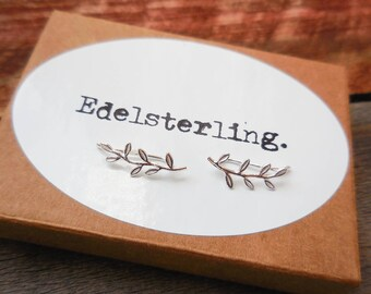 925 Sterling Silver Leaf Ear Pins, Ear Crawlers, Ear Pins, Ear Climber Earrings, Ear Crawler Earrings, Ear Sweeps, Leaf Ear Pins, Leaf Pin