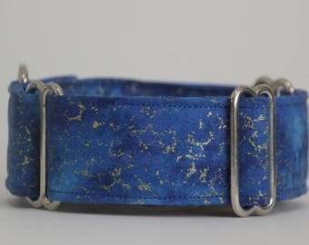 "Whippet Blue and Gold 1.5"" Martingale Collar"
