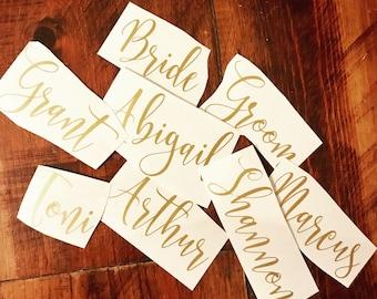 Name Decals, Vinyl Name Decals, Custom Name Decal, Flute Name Decals, Wine Glass Decals, Name Decal Script Font, Tumbler Name Decal