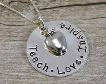 Hand Stamped Jewelry - Personalized Jewelry - Teach Love Inspire Necklace - Sterling Silver Necklace - Teacher Appreciation - Apple Charm