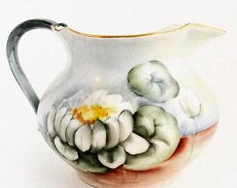 Vente Antique J.P. Limoges France peinte à la main collection décor Floral en porcelaine pichet Accueil