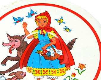 60's Tin Toy Tea plate, Red Riding Hood storybook graphics, smaller size.