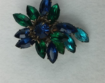 Vintage Blue and Green Rhinestone Brooch