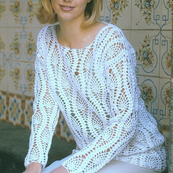 Instant Download Pdf Vintage Crochet Pattern Lace Sweater Tunic