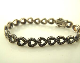Marcasite Heart Bracelet - Sterling Silver - Vintage