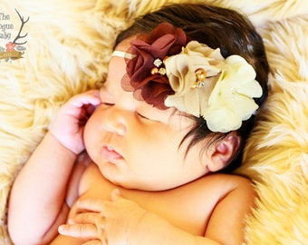 Baby Headband - Cream Tan Brown - Pearl Rhinestones - Newborn Headband - Cream Headband - Brown Headband - Ombre Headband