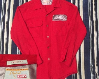 Rare 1950s Levis Big E Wool Loop Collar Shirt Mens Size XS/S Original