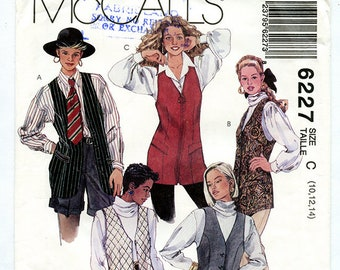Vintage 90s McCalls 6227 Women's Long Lined Vest UNCUT Sewing Pattern Button or Zipper Front Sizes 10 12 14 S M Bust 32 34 36