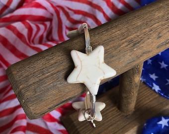 White Howelite Star Bangle Bracelet July 4 Jewelry Independence Day Jewelry