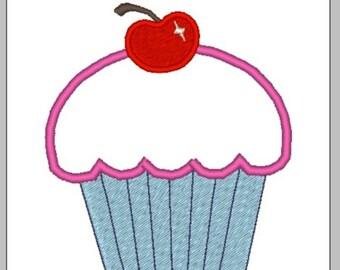 "Cherry Cupcake Applique- 3"" x 3.5"" - Machine Embroidery File"