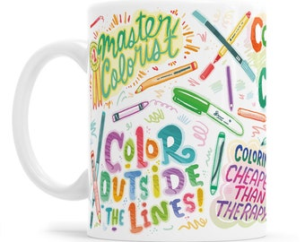 Coloring Gift Coloring Mug Instagram Mug Hashtag Gift Colored Pencil Mug Adult Coloring Social Media Mug Colored Pencil Artist Gift
