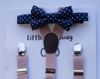 Boys Navy Bow Tie Blush Suspenders, Boys Bow Tie and Suspenders, Boys Suits, Ring Bearer Outfit, Baby Boy Bow Tie, Boys Suspenders, Wedding