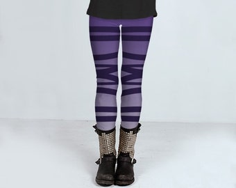 Ballerina striped leggings, purple, yoga pants, bandage, printed tights