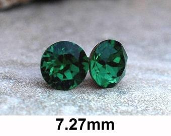 Emerald Studs, Swarovski, Stud Earrings, Xirius Rhinestone Stud, Rhinestone Earrings, Green Crystal Studs, Earrings, Green Earrings, 7.27mm