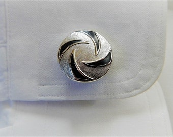 Mid century modern Cuff link set SWANK Cuff links & Tie tack Silver Black Swirls  Men's Fashion Statement Vintage Men's accessory Groom gift