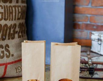 10 Window Kraft paper bags, kraft gift bags, Kraft favor bags, paper goodie bags, pastry paper bags, wedding favor bag, small paper bags
