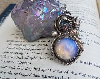 Opalite and Titanium Druzy Quartz Pendant