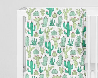 Muslin swaddle blanket, cactus wilderness desert baby newborn infant swaddle, organic cotton wrap, gift for mom, hospital take home throw