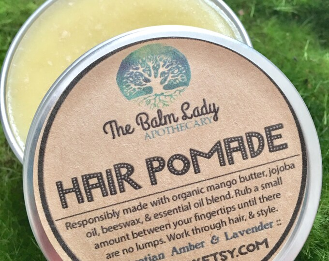 Egyptian Amber & Lavender Scented Hair Pomade, Exotic, Sensual, Organic Styling Wax Pomade, molding putty, Healthy Hair Healthy Scalp 2 oz