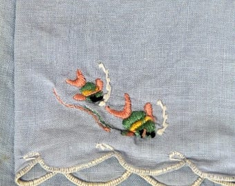 Vintage Embroidered Cotton Hand Towel