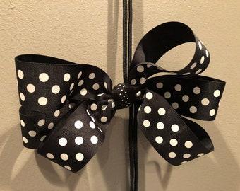 Big Black w/ White Polka Dots Hair Bow