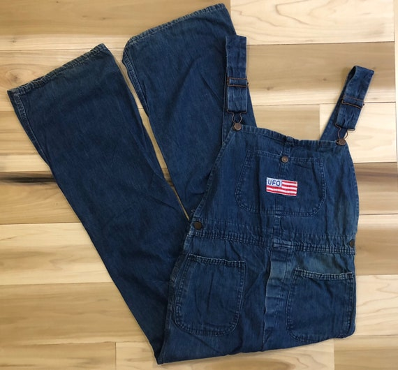1960s Jeans Bellbottom Overalls Sanforized Denim UFO Low back