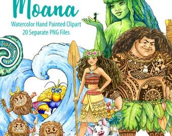 Watercolor Moana Clipart. Maui, Tafiti's Heart, Kakamora, Waves. Digital prints, printable art, kids room decor, hand painted graphic, PNG