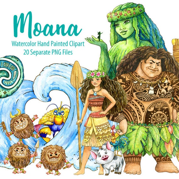 Watercolor Moana Clipart. Maui, Tafitiu0027s Heart, Kakamora, Waves. Digital  Prints, Printable Art, Kids Room Decor, Hand Painted Graphic, ...
