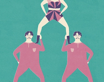 Acrobats A4 Limited edition a4 giclee print