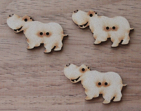 2 Hippopotamus Buttons,4.7 cm Buttons -Acrylic and Wood Laser Cut-Jewelry Supplies-Little Laser Lab Wood and Acrylic Products