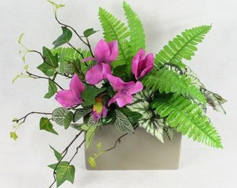 Artificial Cyclamen Ivy and Fern Silk Arrangement