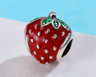 Sweet Strawberry Red Enamel Authentic sterling silver 925 Fit Original WST Bracelet  fit Authentic pandora bracelet and european bracelets