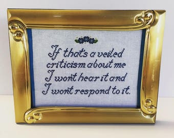 Lucille Bluth Cross Stitch // If That's A Veiled Criticism About Me I Won't Hear It And I Won't Respond To It