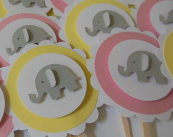 Elephant Cupcake Toppers - Pink, Yellow and Gray - Girl Baby Shower Decorations - Girl Birthday Decorations - Set of 12